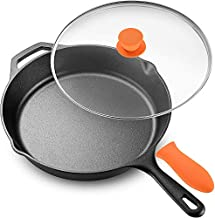 """Legend Cast Iron Skillet with Lid   Large 12"""" Frying Pan with Glass Lid & Silicone Handle for Oven, Induction, Cooking, Pizza, Sautéing & Grilling   Lightly Pre-Seasoned Cookware Gets Better with Use"""