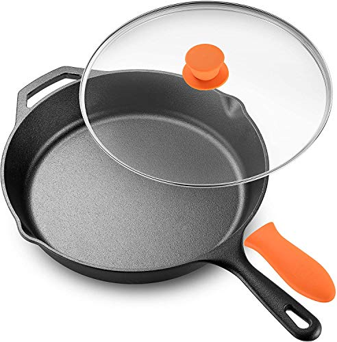 "Legend Cast Iron Skillet with Lid | Large 12"" Frying Pan with Glass Lid amp Silicone Handle for Oven Induction Cooking Pizza Sautéing amp Grilling 