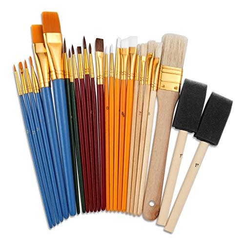 25 PCS All Purpose Paint Brush Set for Kids, Beginner, Paint, Craft, Multiple Mediums, Classroom - Assorted Paint Brushes Great with Acrylic, Oil, Watercolor, Gouache, Tempera Paints
