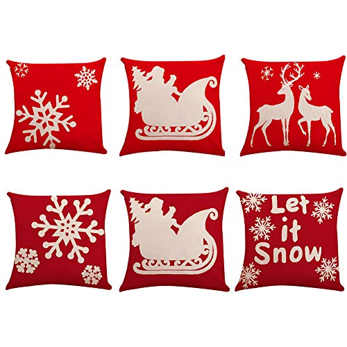 6pcs Christmas Throw Pillow Cover 18 X 18 Inches Christmas Cushion Throw Covers Cases Linen Throw Linen Decorative Square Couch Pillow Cover Pillowcase for Sofa Bed Chair Living Room Home Decorations