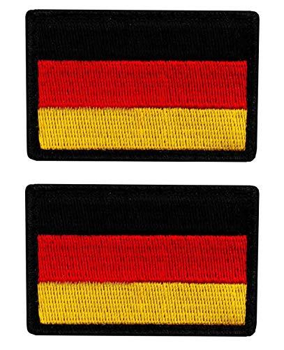 Café Viereck ® Bundeswehr Deutschland Flaggen Patch Gestickt mit Klett - 6 cm x 4 cm (2X Schwarz/Rot/Gold)