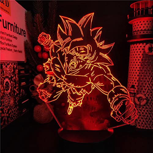 Lámpara de ilusión 3D Luz de noche LED Dragon Ball Ultra Instinct Son Goku Fight Goku Guante Luz junto a la cama Decoración del hogar Luces Dbz Manga Habitación infantil Niño Niña Regalo Cumpl