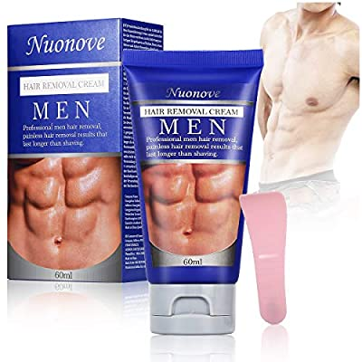 Men Hair Removal Cream, Depilatory Cream, Hair Removal Cream, Chest & Body, Extra Gentle Hair Removal Cream for Sensitive Areas, Made for Men, 60ml by Nuonove-Store