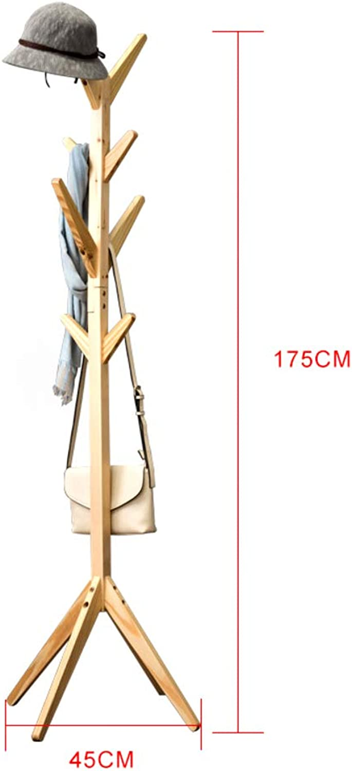 8 Hooks Hall Tree Free Standing,Solid Wood Coat Rack,Hanger Enterway Hall Tree for Coat Has Clothes Scarves Handbags-A 45x175cm(18x69inch)