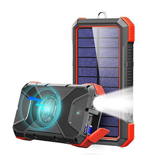 GOODaaa Powerbank 20000mah Wireless Solar Ladegerät,Power Delivery 18W Schnelles Aufladen Externer Akku mit LED Lampe/3 Ausgänge,10W/7.5W Induktive Ladung Kompatibel für Alle Smartphones