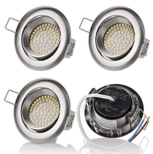 Lot de 4 spots à LED sweet led® - Design plat encastrable - 3,5 W - 230 V - Aspect acier inoxydable - Ronde - Carrée - Pivotante, Chrom Gebürstet - Neutralweiß 3.5watts 230.00volts