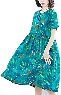 YIBEIANYU Summer Korean Version Of Cotton Print Loose Long Section Was Thin Dress