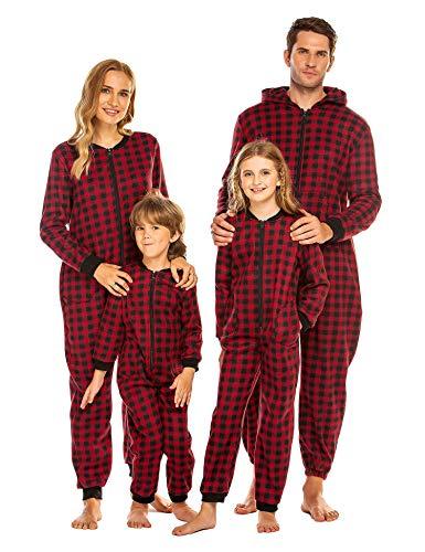 Ekouaer Family Matching Pajamas Set Fleece Onesie Sleepwear Christmas Parent-Child Zipper Jumpsuit with Pocket