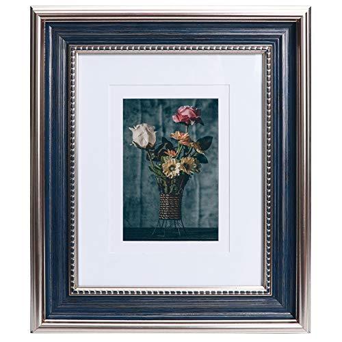 Beyond Your Thoughts Marco de fotos de 20 x 25 cm con cristal HD vintage, con 2 paspartús de 10 x 15 cm y 13 x 18 cm, para fotos familiares con soporte de mesa, color azul