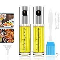 geeric spruzzatore olio, nebulizzatore olio/aceto oilo sprayer spazzolino imbuto set spruzzatore condimento in vetro oliva bottiglia per padella, bbq, cucina, insalata