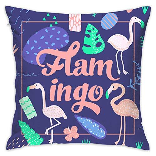 maymer Fundas de cojín de 45,7 x 45,7 cm, diseño de flamenco rosa con fondo azul, fundas de almohada decorativas grandes para sofá de ambos lados, para decoración del hogar