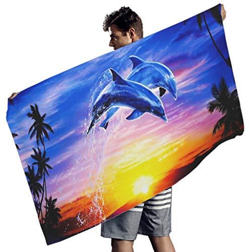 MINNOMO Delphin Sonnenuntergang Landschaft Tier Druck Badetuch Gemütlich Handtücher White 150x75 cm