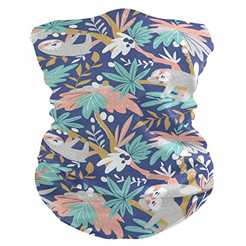 Stoff-Gesichtsmaske für Damen, multifunktional, Bandanas, Schnittmuster, unisex, Faultier auf Kokosbaum, bedruckbar, für Herren und Damen, Kopfbedeckung, Gesichtshandtuch, waschbar