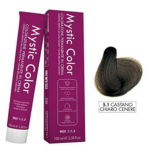 Mystic Color - Crème Colorante Permanente à l'Huile d'Argan et au Calendula - Coloration Longue Durée - Couleur Brun Cendré Clair 5.1-100ml