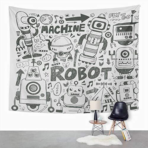 Y·JIANG Tapiz Space Geek Tema Sci Fi Robot gris pálido para el dormitorio del hogar, decoración de gran tamaño, manta para colgar en la pared para sala de estar, dormitorio, 60 x 50 pulgadas