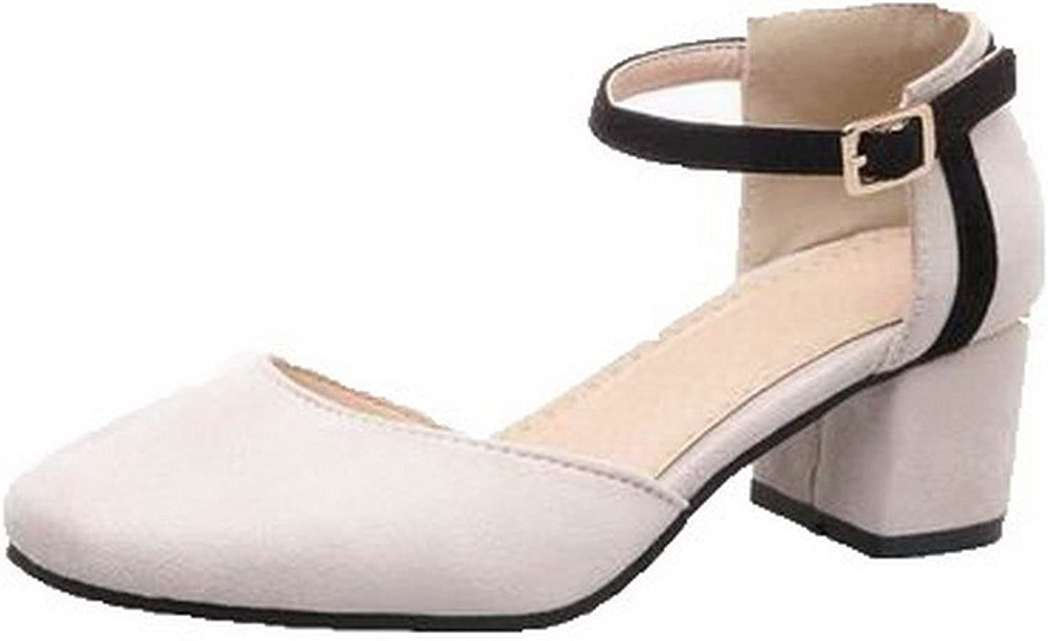 AllhqFashion Women's Frosted Kitten-Heels Closed-Toe Solid Buckle Sandals