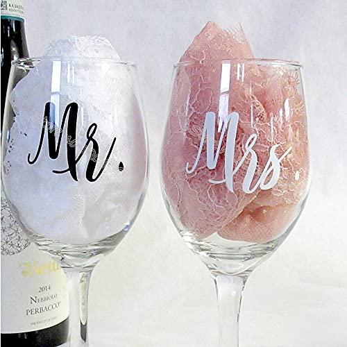 PMSMT 9 Piezas mr y 9 Piezas Mrs/Set Copas de Vino Pegatina recién Casados Compromiso Regalo de Boda Copa de champán decoración eb020