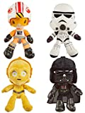 Star Wars Hoth Battle Plush 4-Pack, 8-in Character Soft Dolls, Luke Skywalker, Darth Vader, C-3PO & Stormtrooper, Collectible Movie Gift for Fans 3 Years & Older, Limited Edition [Amazon Exclusive]