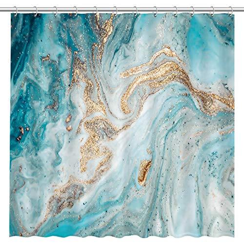 Allenjoy Duschvorhang mit blauer Marmorstruktur, goldfarbener Türkis, modisches Kunstwerk, modernes Badezimmergewebe, üppiges Dekor, langlebig, Badewannen-Dusch-Dekor mit 12 Haken, 183 x 183 cm