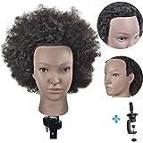ERSIMAN Afro Mannequin Head 100% cheveux humains 8 'tête de formation de mannequin de cosmétologie avec pince libre