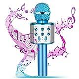 Bluetooth Karaoke Mikrofon, Singen Tragbarer drahtloser Karaoke-Mikrofon für Kinder Kompatible PC Laptop iPhone und Android Smartphone für AusgangsKTV Partei Muisc Spielen,Blau