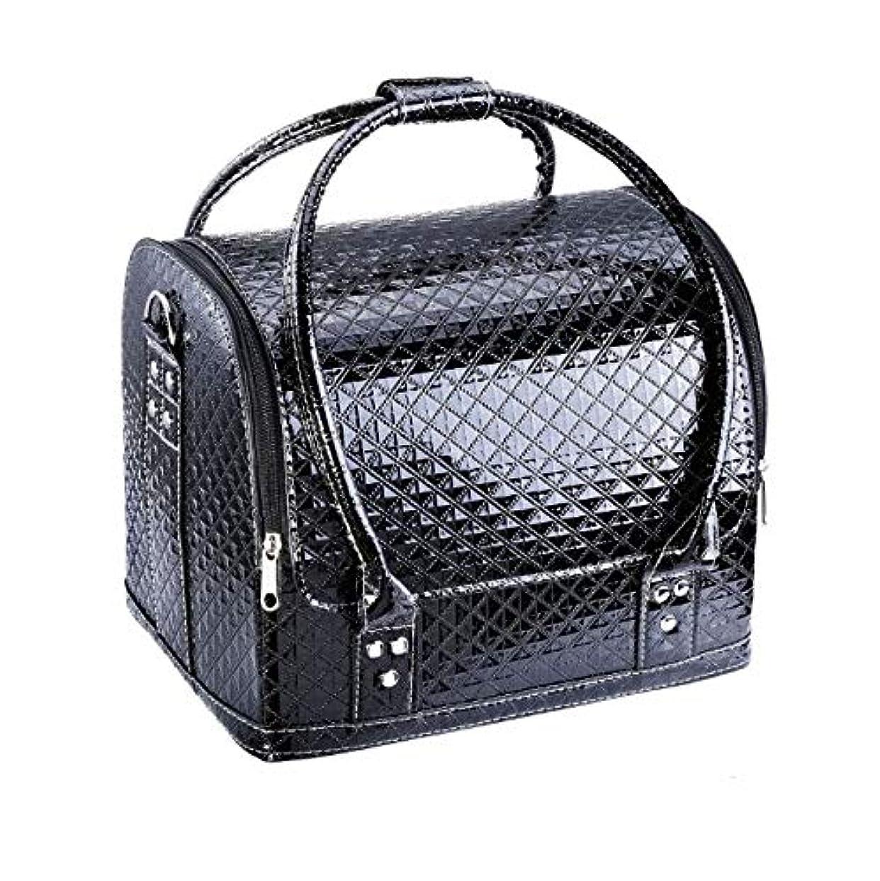 偉業殉教者余暇化粧箱、大容量ダブルオープンポータブル化粧品ケース、ポータブルダイヤモンドパターン旅行化粧品バッグ、美容ネイルジュエリー収納ボックス