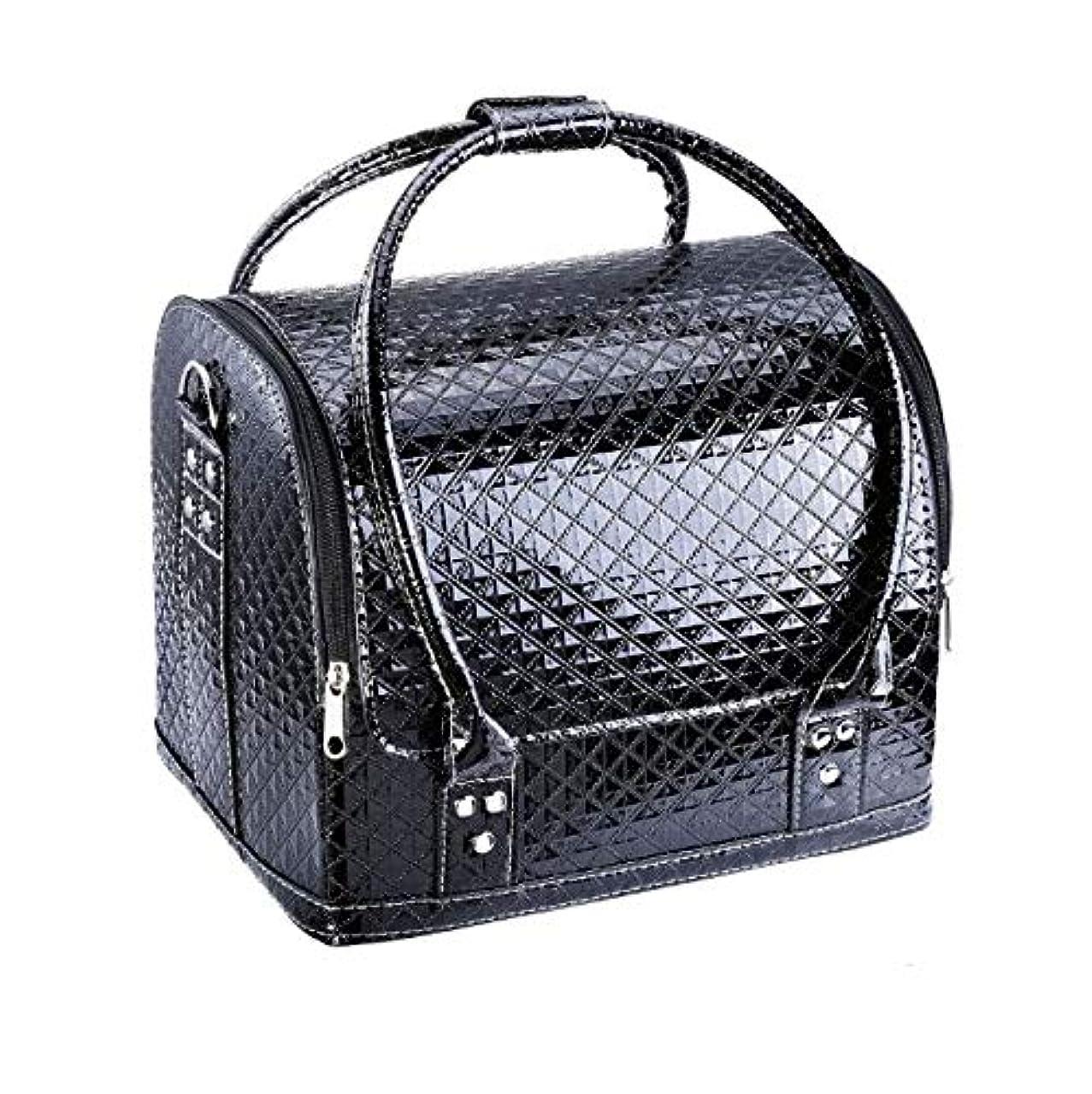 化粧箱、大容量ダブルオープンポータブル化粧品ケース、ポータブルダイヤモンドパターン旅行化粧品バッグ、美容ネイルジュエリー収納ボックス