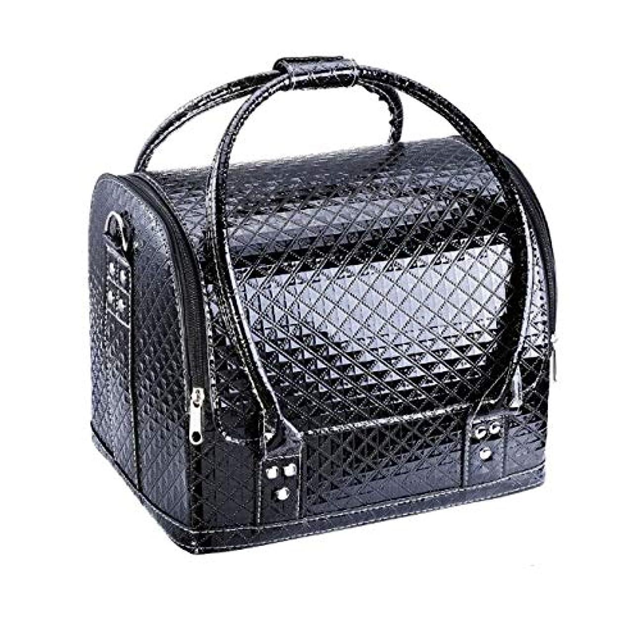 けがをする差し引くカレッジ化粧箱、大容量ダブルオープンポータブル化粧品ケース、ポータブルダイヤモンドパターン旅行化粧品バッグ、美容ネイルジュエリー収納ボックス