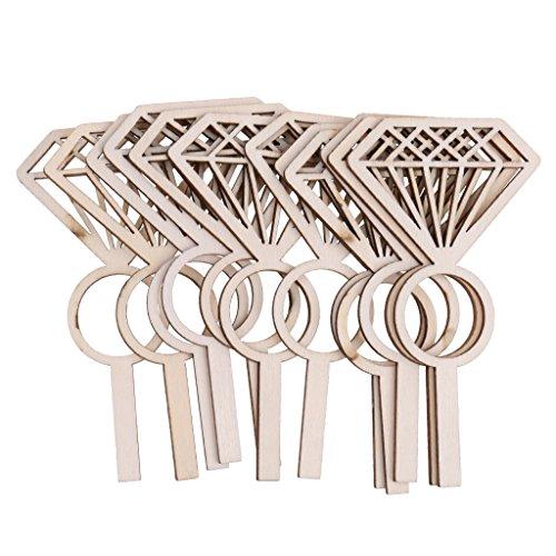 HomeDecTime Set von 24 Cupcake Topper Diamond Ring Brautkleid Cupcake Topper für Hochzeit Engagement Braut Dusche Dekorationen