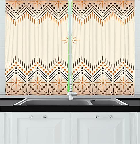 Ambesonne Geometric Kitchen Curtains, Vintage Prehistoric Aztec Motif with Folk Art Effect Print, Window Drapes 2 Panel Set for Kitchen Cafe Decor, 55' X 39', Amber Peach