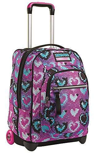 Seven - Mochila con Ruedas Glossy Girl, Color Rosa, 2 en 1 con Sistema Cross-Over System, para la Escuela y los Viajes