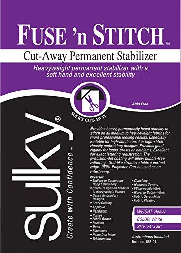 "Sulky 102744 Fuse 'n Stitch Cut-Away Permanent Stabilizer, 24""X36"""
