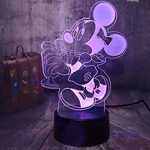 3D nachtlampje schattige muismat 7 kleuren afstandsbediening touch slaapkamer lamp hoofddecoratie, kinderen kerstcadeau