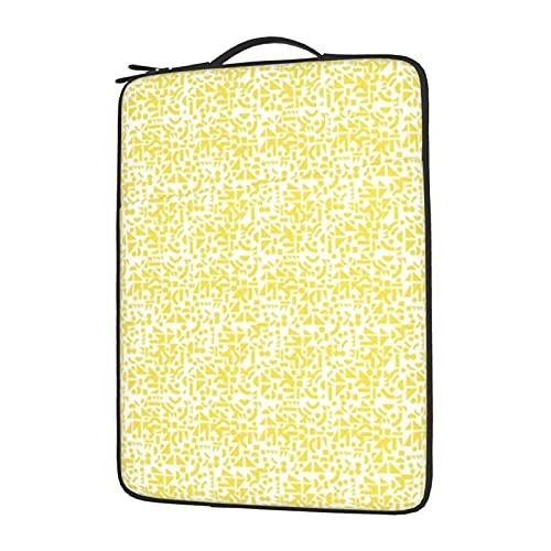 Funda para ordenador portátil de 13 a 15,6 pulgadas, con formas amarillas en blanco, funda protectora de neopreno impermeable compatible con ordenador Tablet Lenovo, HP Envy, MacBook Pro, MacBook Air