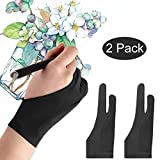 Mixoo Artists Gloves 2 Pack - Palm Rejection Gloves with Two Fingers for Paper Sketching, iPad, Graphics Drawing Tablet, Suitable for Left and Right Hand (Large)