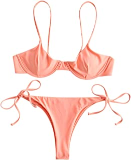 ZAFUL Women's Underwire Push Up Balconette Tie Side String Bikini Set Swimsuit