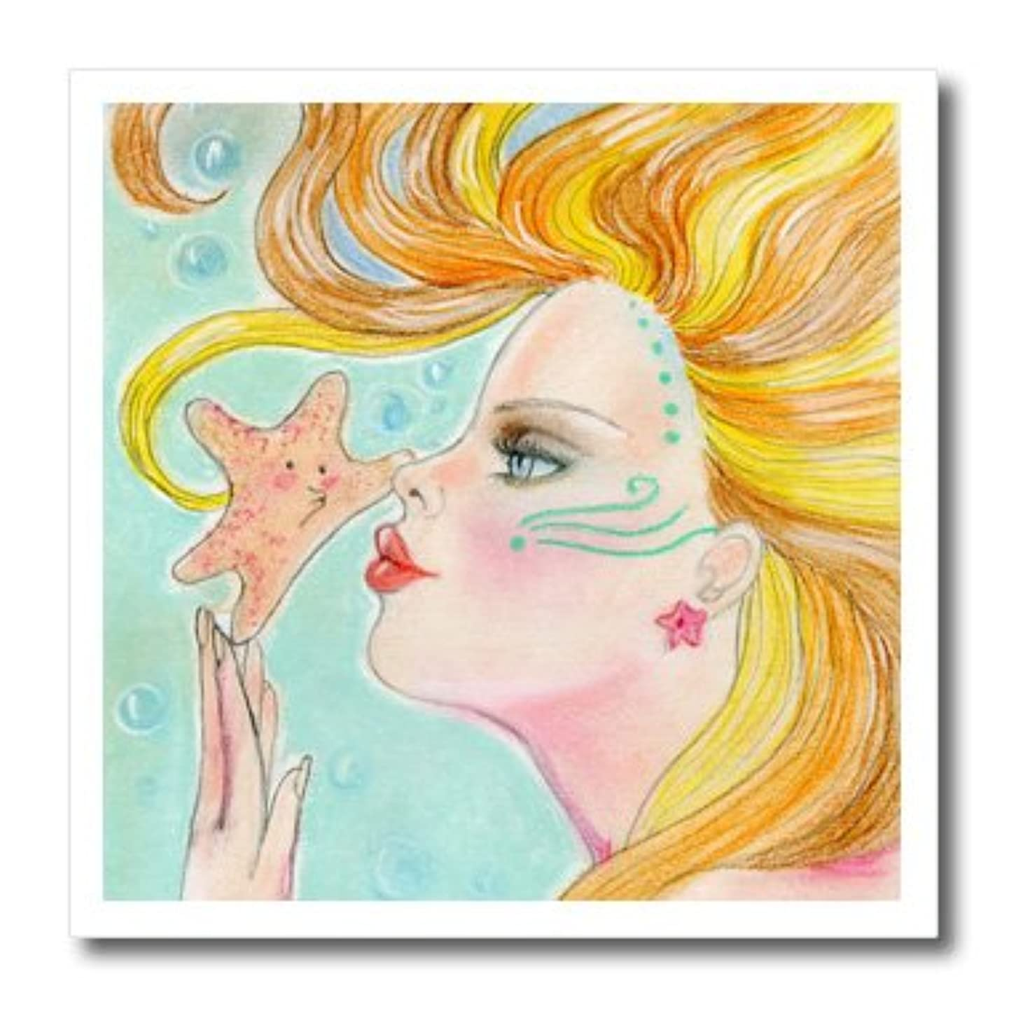 3dRose ht_78675_1 Soft Pastel Ocean Mermaid with Flowing Hair Gets Kiss from Sweet Starfish-Iron on Heat Transfer for Material, 8 by 8-Inch, White