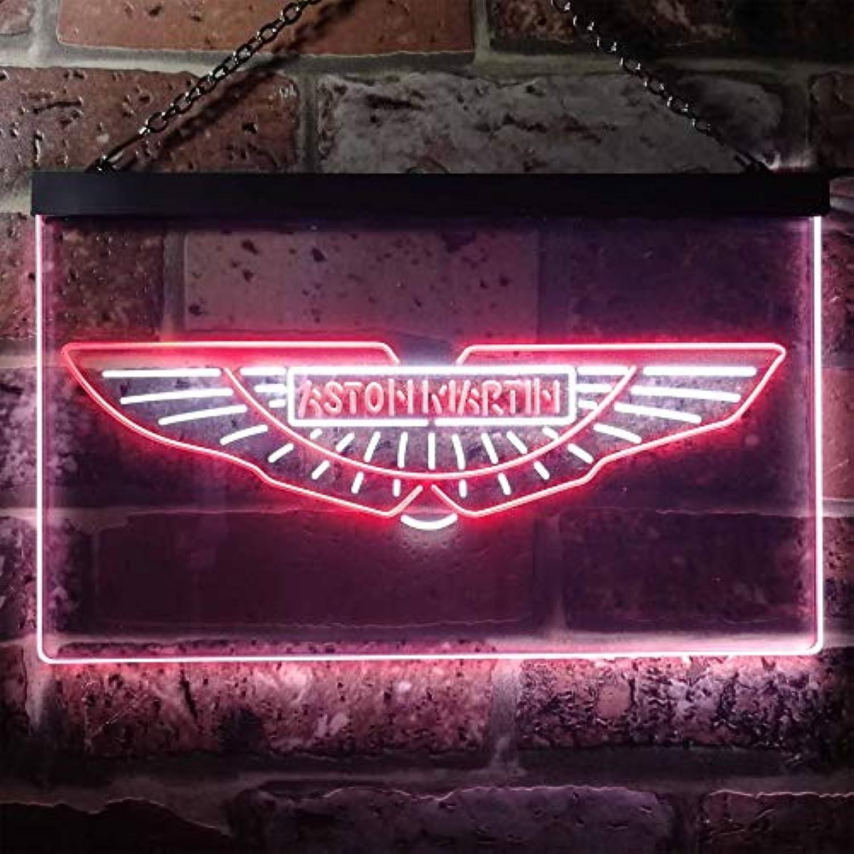Zusme Aston Martin Sport Car Garage Novelty LED Neon Sign Weiß + rot W40cm x H30cm