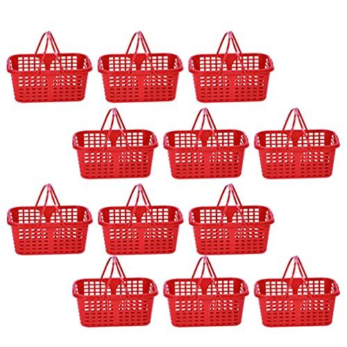 jojofuny 20 Unidades de Cesta de Plástico con Asa de Picnic Frutas Cesta de La Compra para Recoger Juguetes de Organización para El Maletero del Coche Cesta de La Baya Contenedor