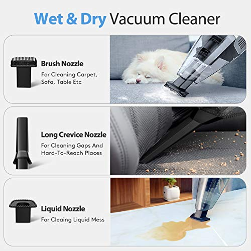 Holife Handheld Vacuum Cleaner, Cordless Hand Held Car Vac Cleaner (100W Vacuum Cleaner, 14.8V Lithum-ion Rechargeable Battery) with Washable Stainless Steel Filter for Pet Hair (White)
