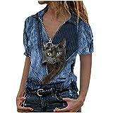 Women s Summer Loose t-Shirts,Women s Tops Cat Printing Turn-Down Collar Short Sleeve Short Sleeve Blouse Blue XXL