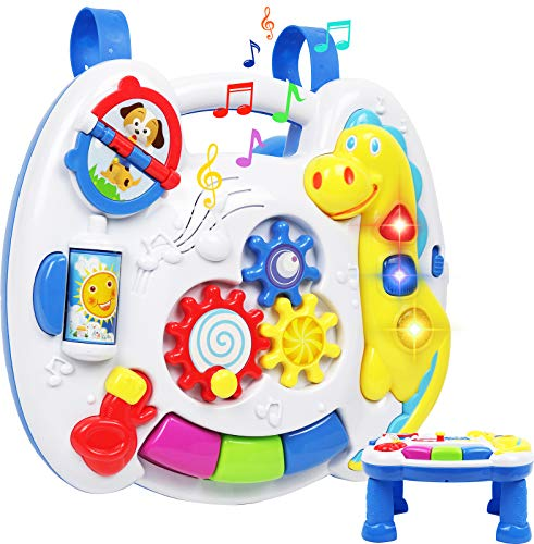 TeganPlay Musical Learning Table 6 Months Up Activity Center 2-in-1 Activity Center for Baby Interactive Learning Toy Piano and Crib Toy with Straps