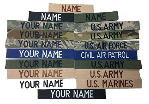 Custom Name Tape, with Fastener or Sew-On, US Army USAF USMC Police CivilAirPatrol Tape (with Fastener, Black)