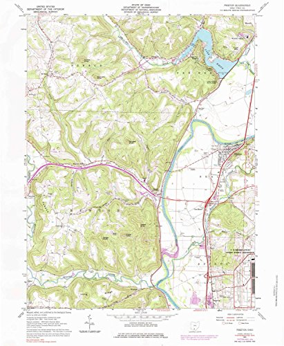 YellowMaps Piketon OH topo map, 1:24000 Scale, 7.5 X 7.5 Minute, Historical, 1961, Updated 1984, 26.9 x 22 in - Polypropylene