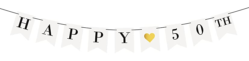 Sterling James Co. Happy 50th Birthday Banner – 50th Wedding Anniversary Decorations - Milestone Birthday Party Decorations