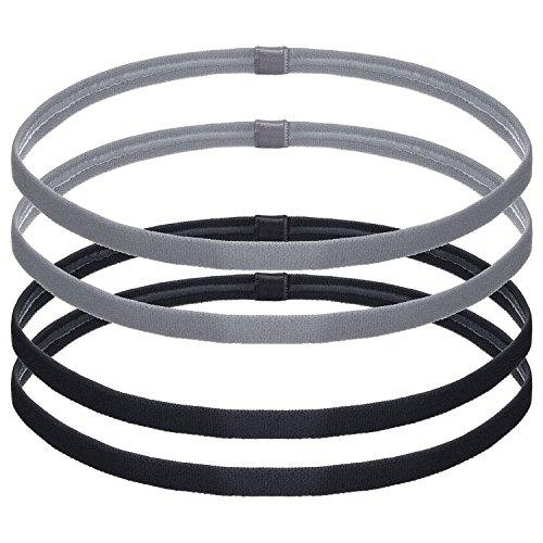 Bememo 4 Stück Dick Antirutsch Elastische Sport Stirnbänder Haare Stirnbänder für Frauen und Männer, Schwarz und Grau