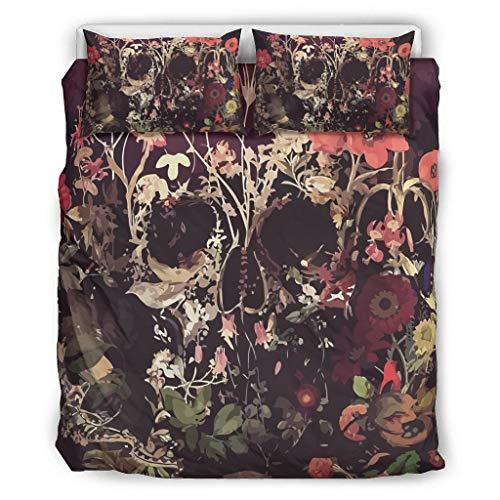 O5KFD&8 Bloom Skull Tagesdecke Set 3-teilig Bettbezüge - Flower Around Weich und Bequem Bohemia Bettwäscheset White 264x229cm