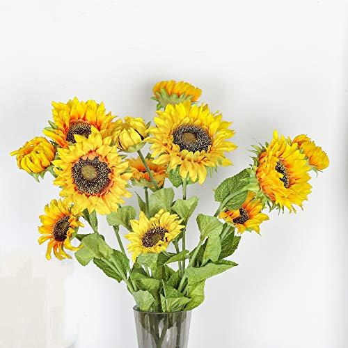 EasyLife 66,5 cm Künstliche Sonnenblume, je 3 Blütenknospen, 6 Stück und 2 Farben pro Set, Dekoration für Hochzeitsdekoration im Innen- und Außenbereich, Küche, Büro, Café, Wohnkultur