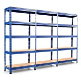 Tangkula 5-Tier Storage Shelves, Heavy Duty Steel Frame Muscle Rack 60in Garage Shelf with Adjustable Shelves, Boltless Shelving Unit for Free Combination, Metal Utility Shelves (3, Navy Bule)