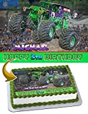 Grave Digger Monster Truck Edible Image Cake Topper Party Personalized 1/4 Sheet